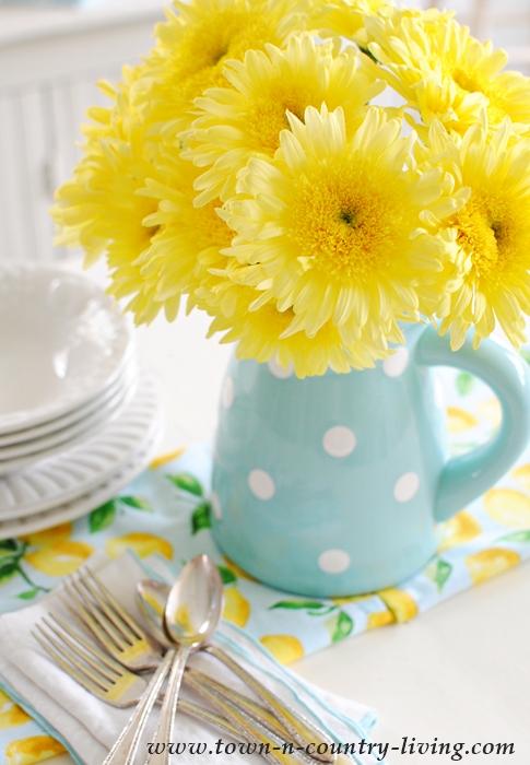 Pitcher of Yellow Gerbera Daisies