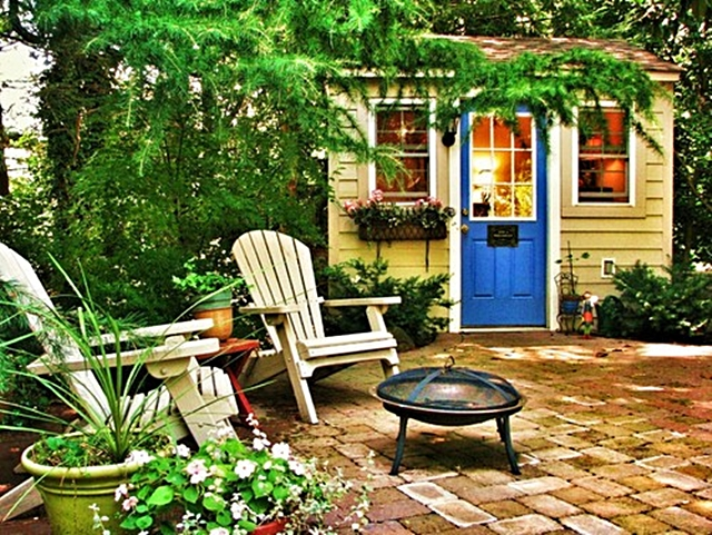 Brick Patio and Adirondack Chairs