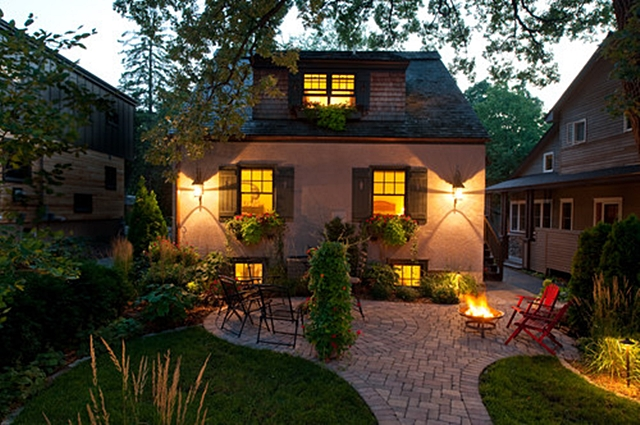Cottage Patio Lit Up at Night