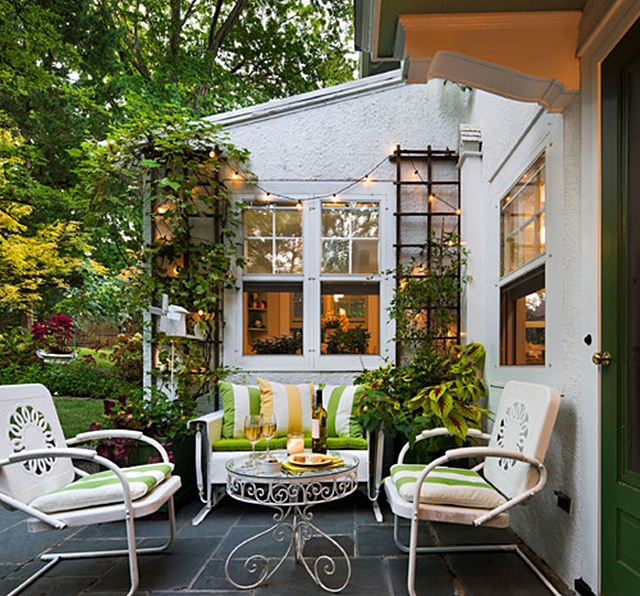 Cottage Patio with Vintage Patio Furniture