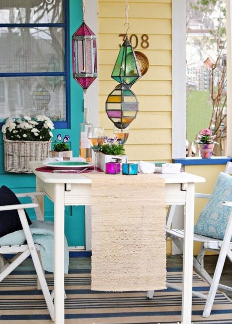 Jewel Toned Lanterns and Table Setting from World Market