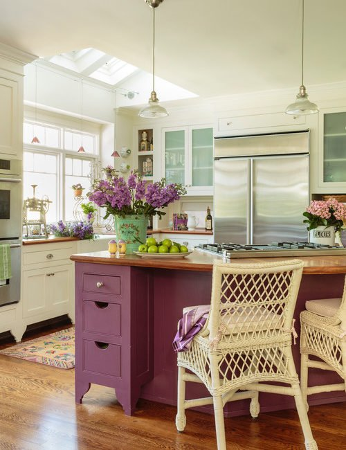 Lavender Island in Colorful Cottage Kitchen