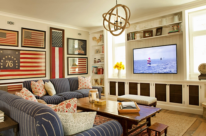 Decorating with Red, White, and Blue in the Family Room