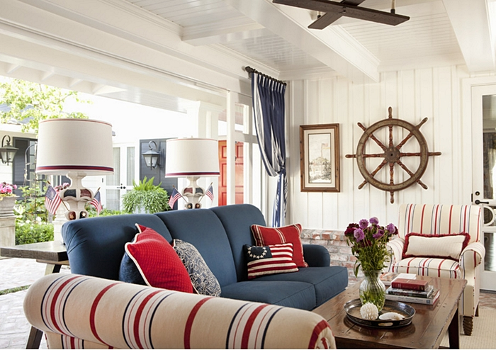 Decorating with red white and blue town country living for Red and blue living room ideas