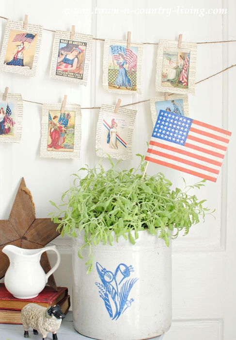 How to Make a Vintage Patriotic Banner with Free Printables