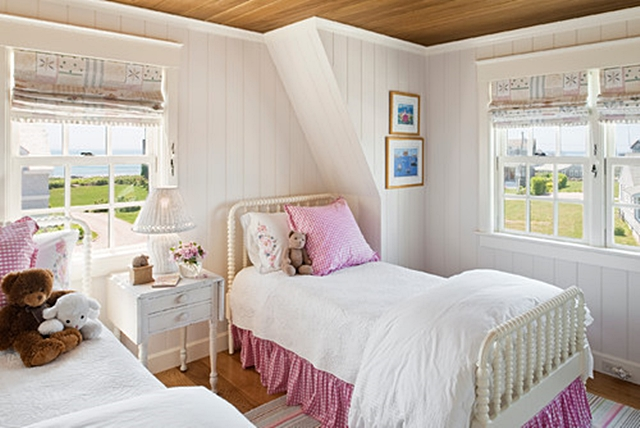 Girl's Pink and White Cottage Bedroom