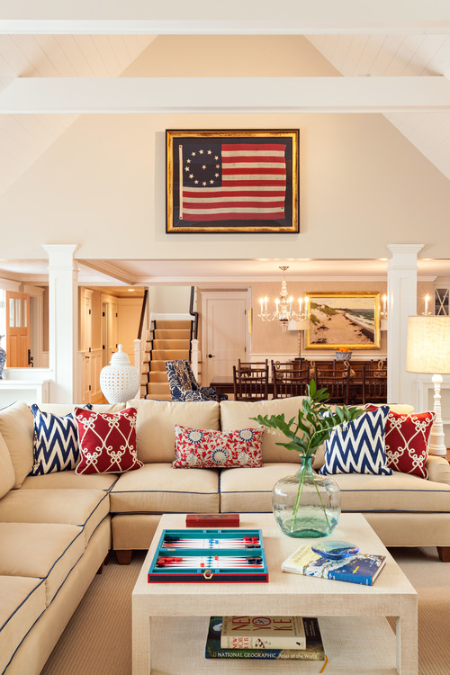 Living Room With Accents Of Red, White, And Blue