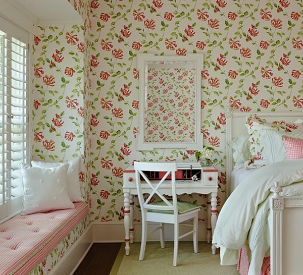 Superbe Pink And Green Bedroom