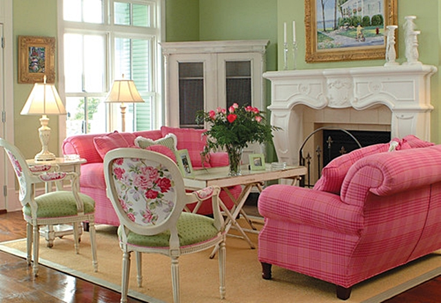Decorating with Pink and Green in the Living Room