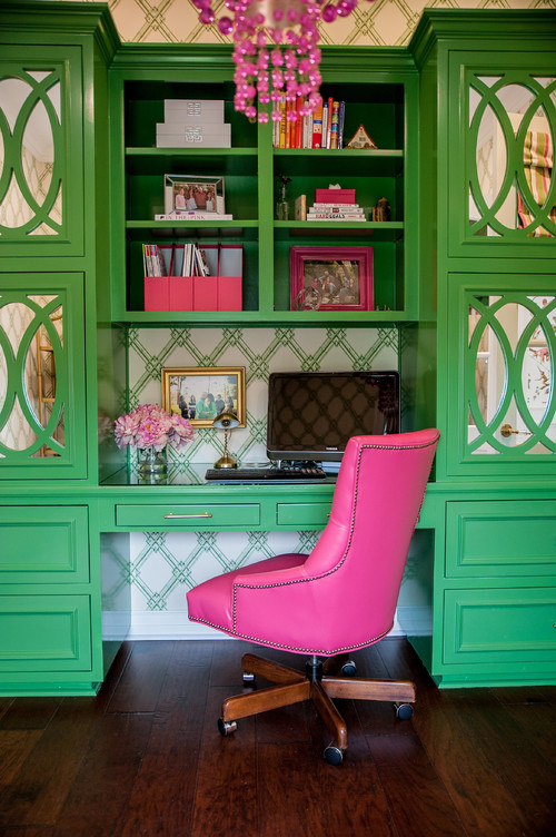 green and pink bedroom decor