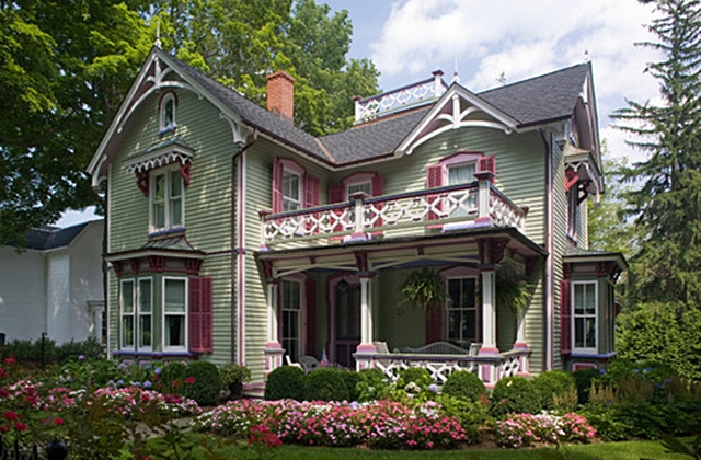 Pink and Green Victorian House