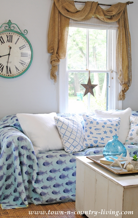Coastal Style No-Sew Slipcover Using Quilted Bedspreads