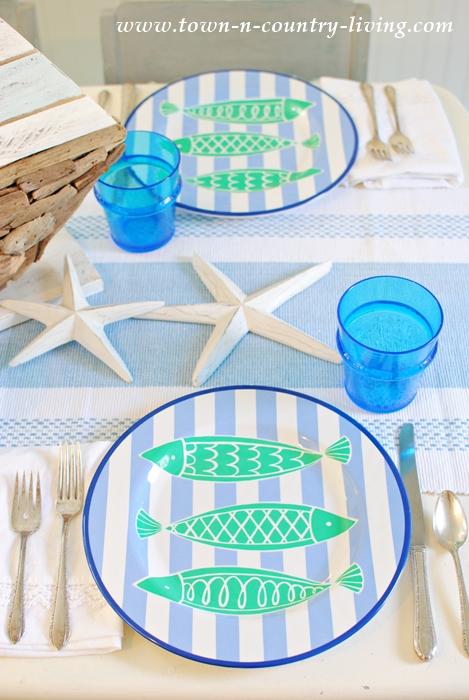 Beach Themed Dinnerware for a Coastal Style Table Setting
