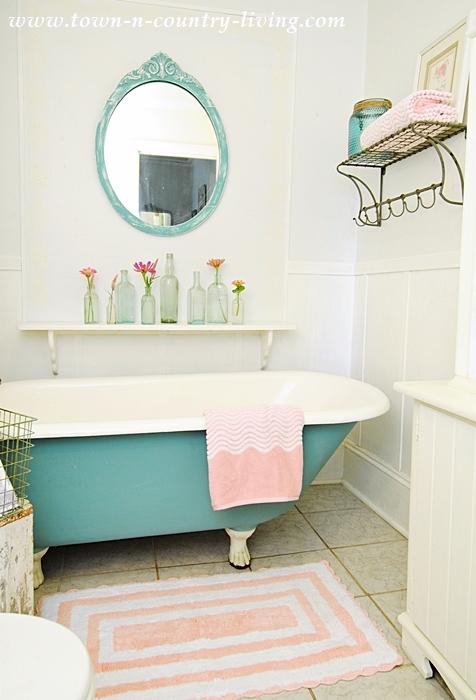 pink in a summer farmhouse bathroom