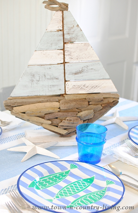 Wooden Sailboat Centerpiece from Home Goods