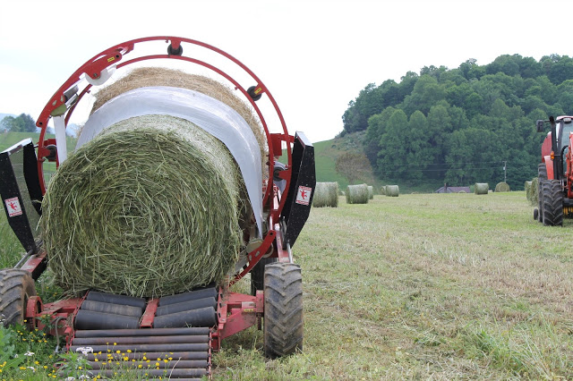 Wrapping Hay on a Farm