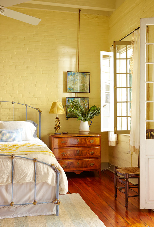 Elegant Country Style Bedroom with Painted Brick Walls