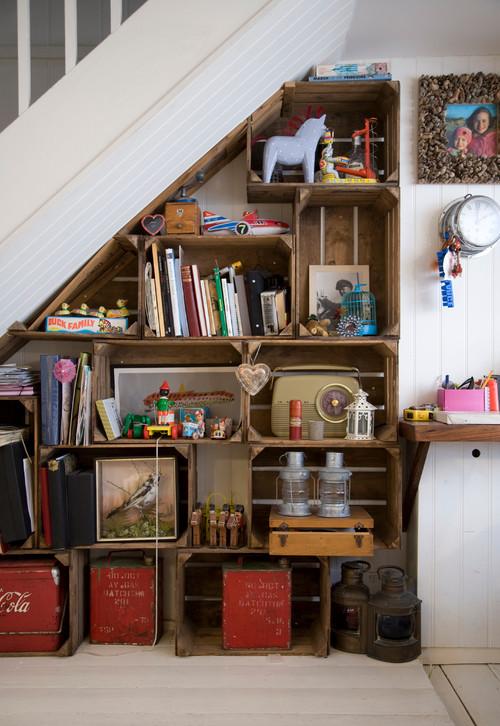 Shabby Chic Storage Under Staircase