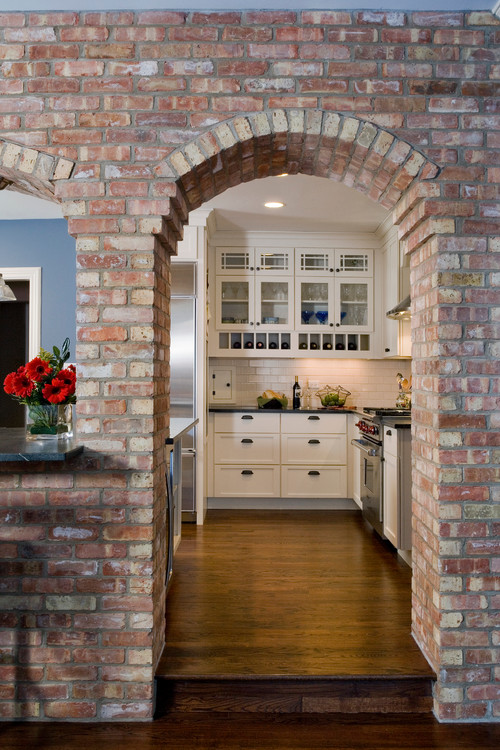 Brick Archway in Traditional Kitchen