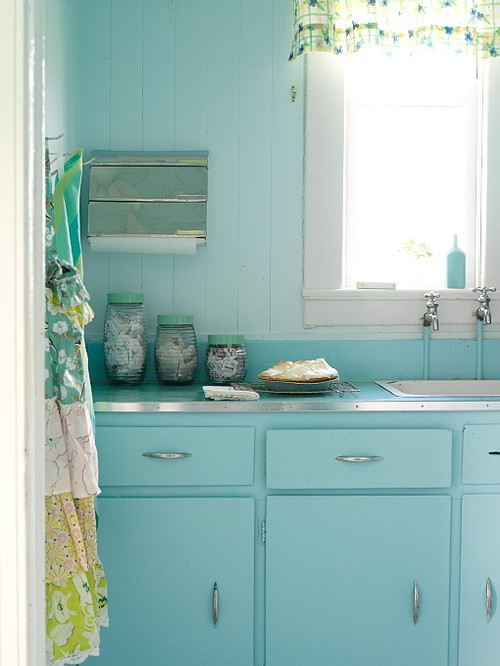 Cottage Kitchen with Blue Cabinets