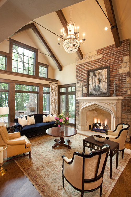 Exposed brick walls inspiring examples town country for Living room ideas exposed brick