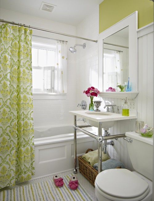 White Bathroom with Pink and Apple Green Accents
