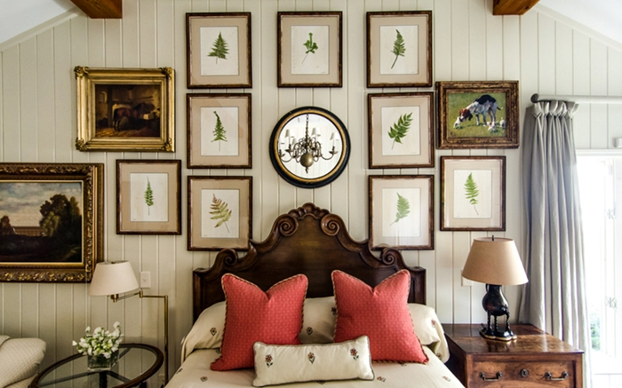 Bedroom Gallery Wall with Botanical Prints