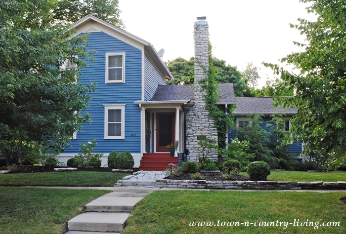 Historic Blue Clapboard House in St. Charles, Illinois