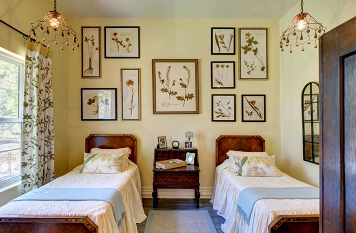 Charming Bedroom with Botanical Prints Gallery Wall