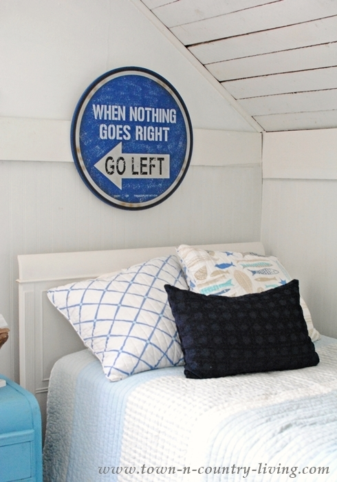 Coastal Style Bedroom Painted White with Blue Decor