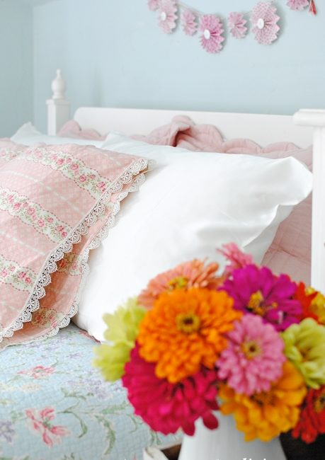 Summer Bedroom with Silk and Vintage Style Pillowcases