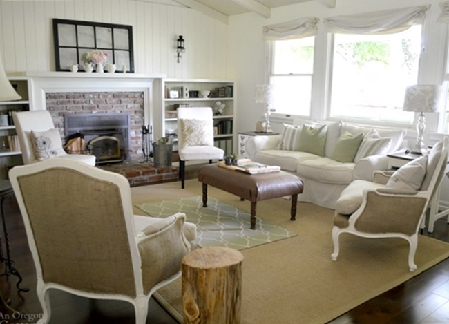 French country neutrals create a pretty living room