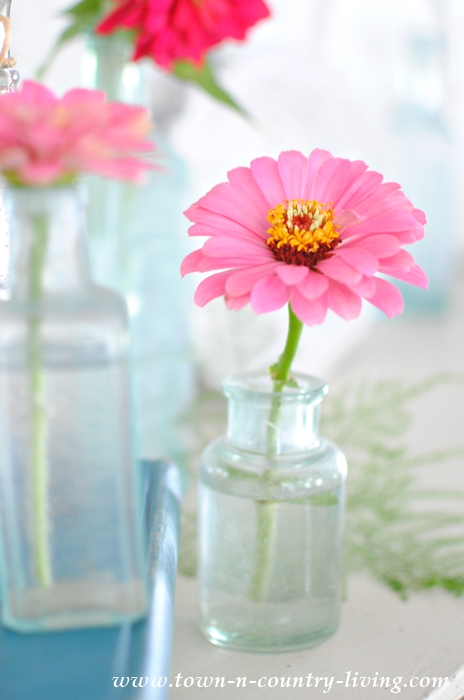 Decorating a Simple Summer Mantel with Pink Zinnias