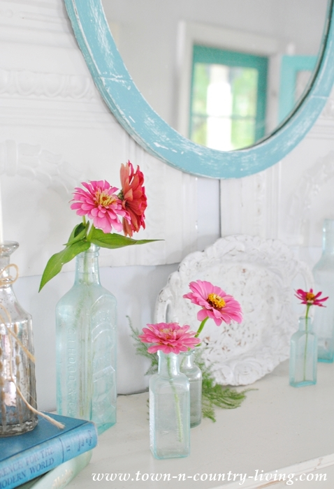 Simple Summer Mantel Decorated with Zinnias from the Flower Garden