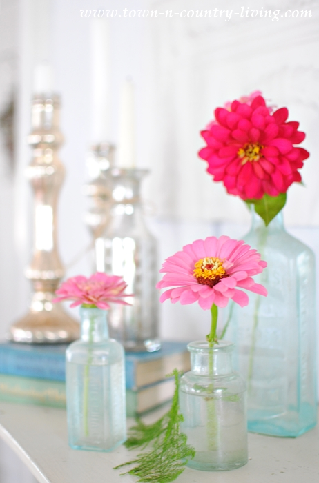 Simple Summer Mantel with Zinnias and Silver Candlesticks