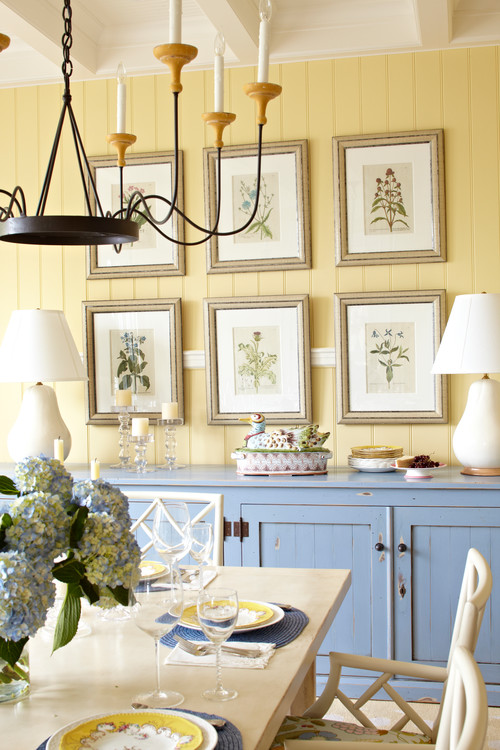 Botanical Prints in a Farmhouse Dining Room