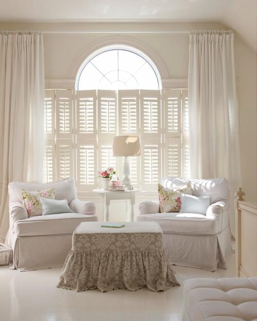 White Shabby Chic Family Room