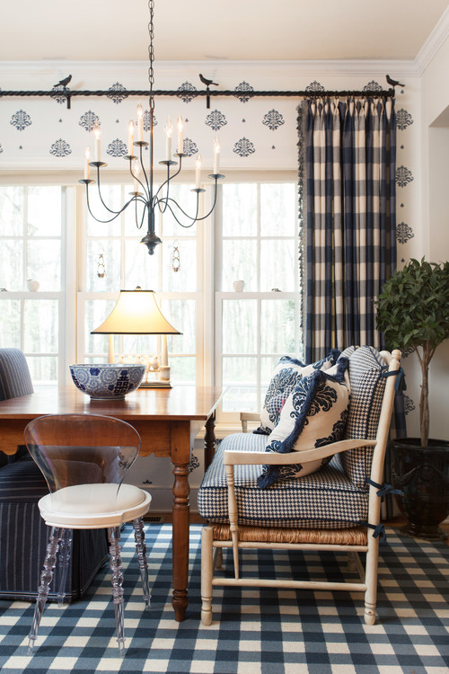 Navy and White Buffalo Checks in a Dining Room
