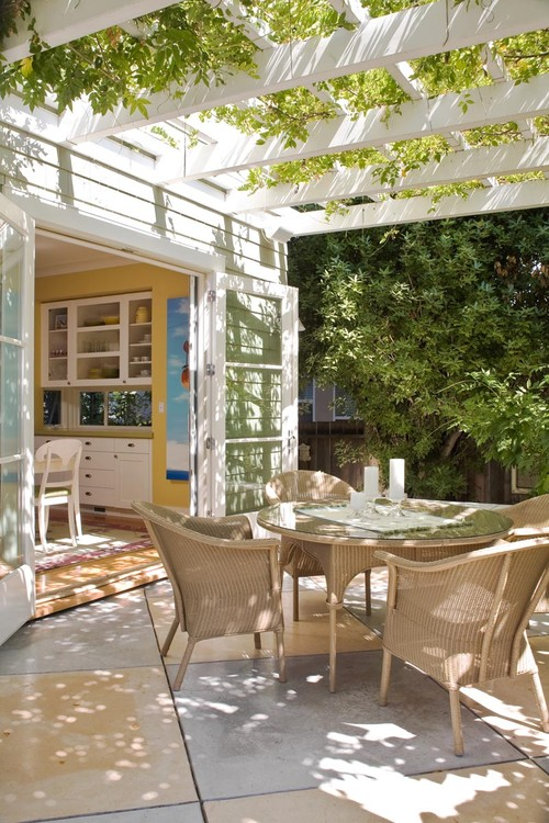 Traditional Patio with Wicker Dinette