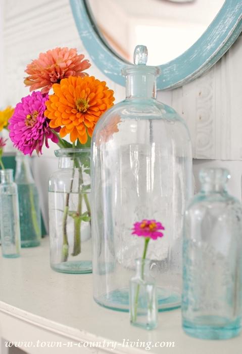 Summer Mantel with Vintage Aqua Bottles