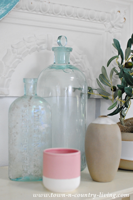 Vintage and New Bottle and Vase Vignette