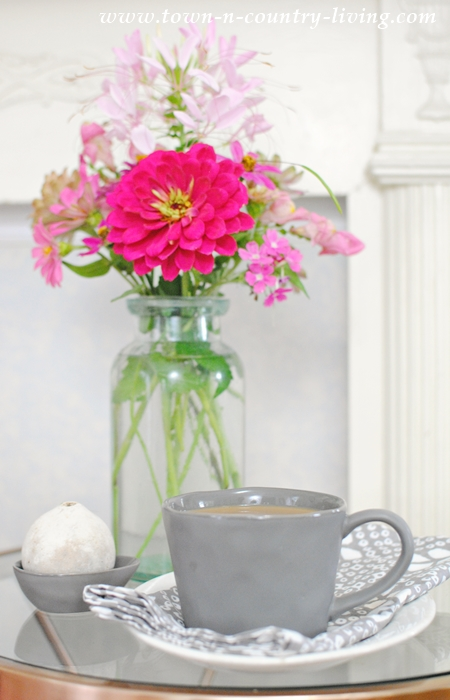 Coffee and Flowers for a Cozy Reading Nook