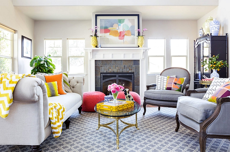 Living rooms with beautiful style town country living for Bright coloured living room ideas