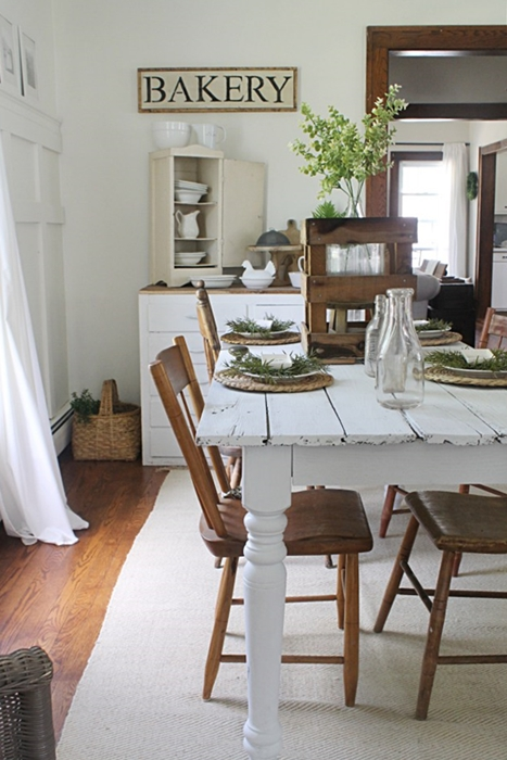 The willow farmhouse charming home tour town country for Country living dining room ideas
