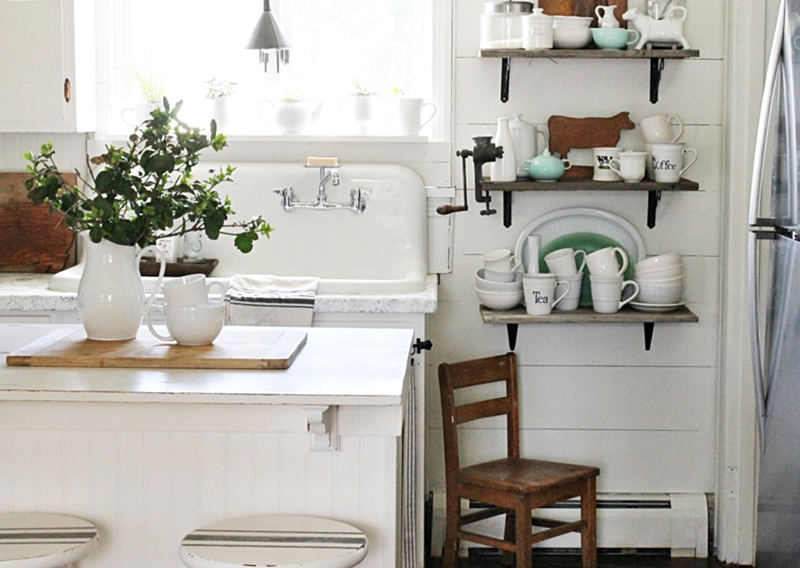 Farmhouse Kitchen with Shiplap Walls