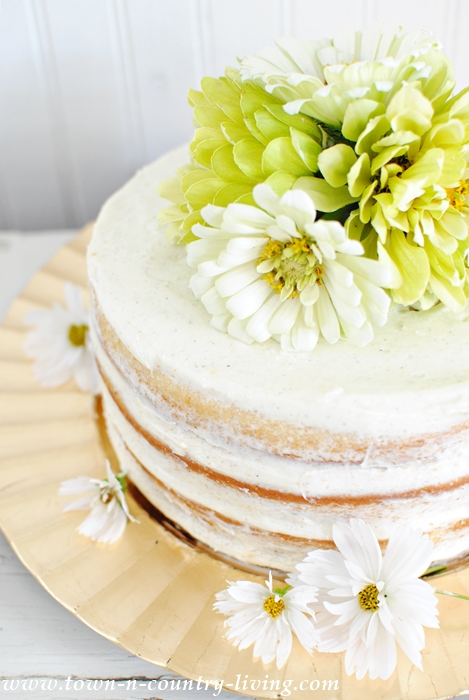 Decorate a Naked Cake with Fresh Flowers