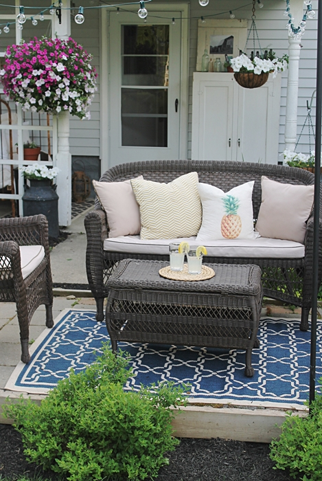 Farmhouse Patio with Wicker Furniture