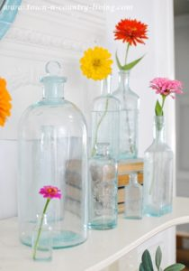 Vintage Bottles and a Summer Mantel