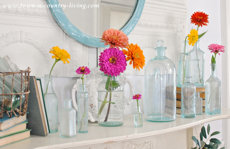 Summer Mantel with Vintage Aqua Bottles