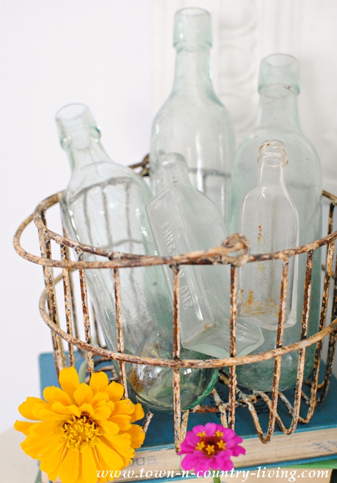 Wire Baskets with Soda Bottles